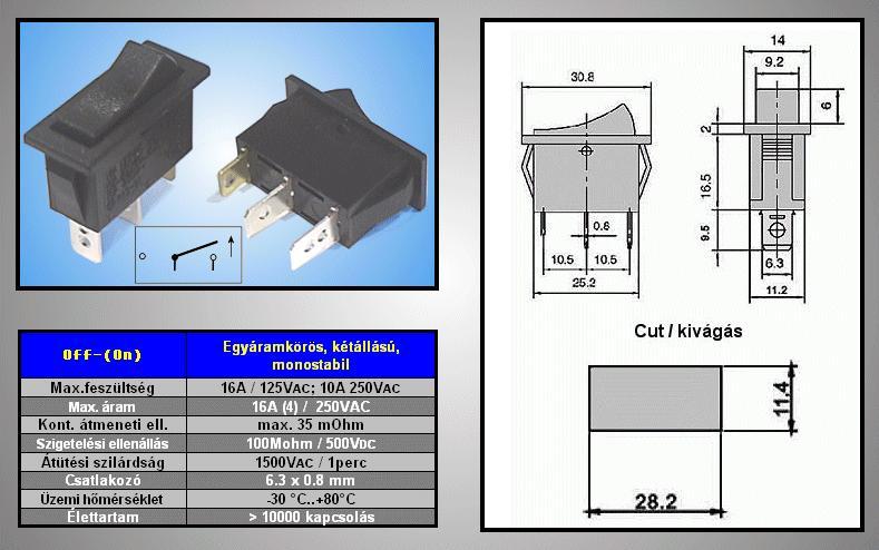 Billenő fekete 1 áramkörös (ON)-OFF SW2131
