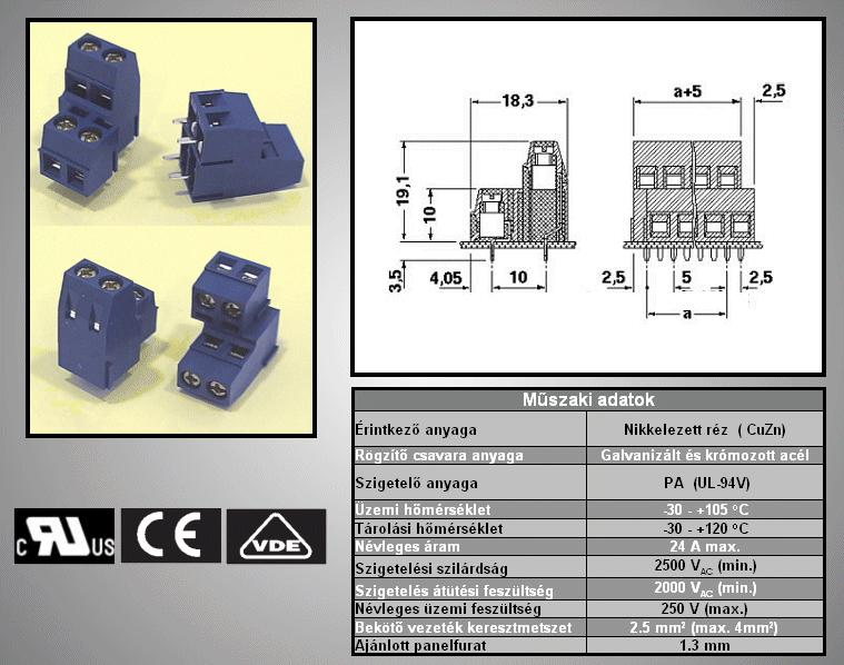 4 Pólusú sorkapocs 5mm 2x2p.nyákos TB-002X2/5-19