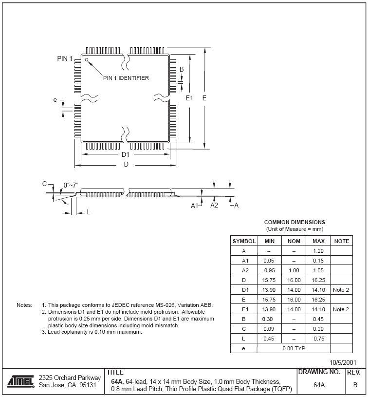MC 128K FLASH,4K SRAM 16MHz 64p ATMEGA128-16AU