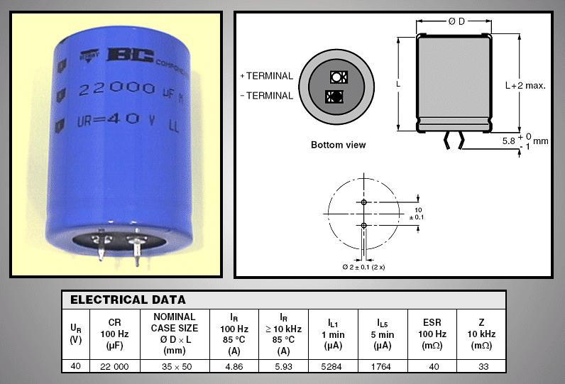 ELKO 22000uF 40V 85°C 35x50 Snap-in 22000/40P