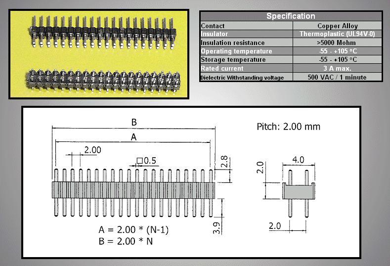 Kétsoros tüskesor 2.0 2x20p.2.8/ 3.9mm0.5 STSF 40P2 L3/04