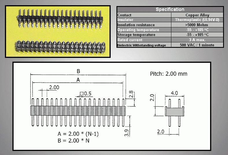 Kétsoros tüskesor 2.0 2x40p.2.8/ 3.9mm 0.5 STSF 80P2 L3/04
