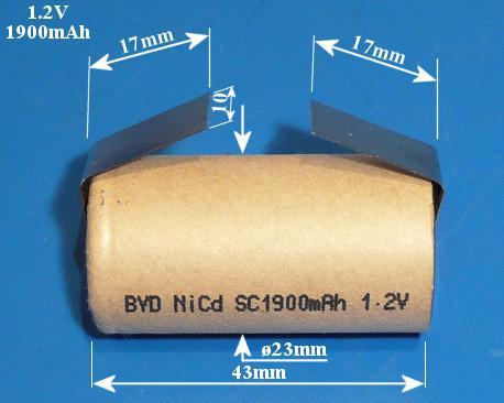 Ni-Cd 1.2V 1900mAh akkumulátor 23x43mm Sub-C, forrfüles ACCU-1.2/1900C