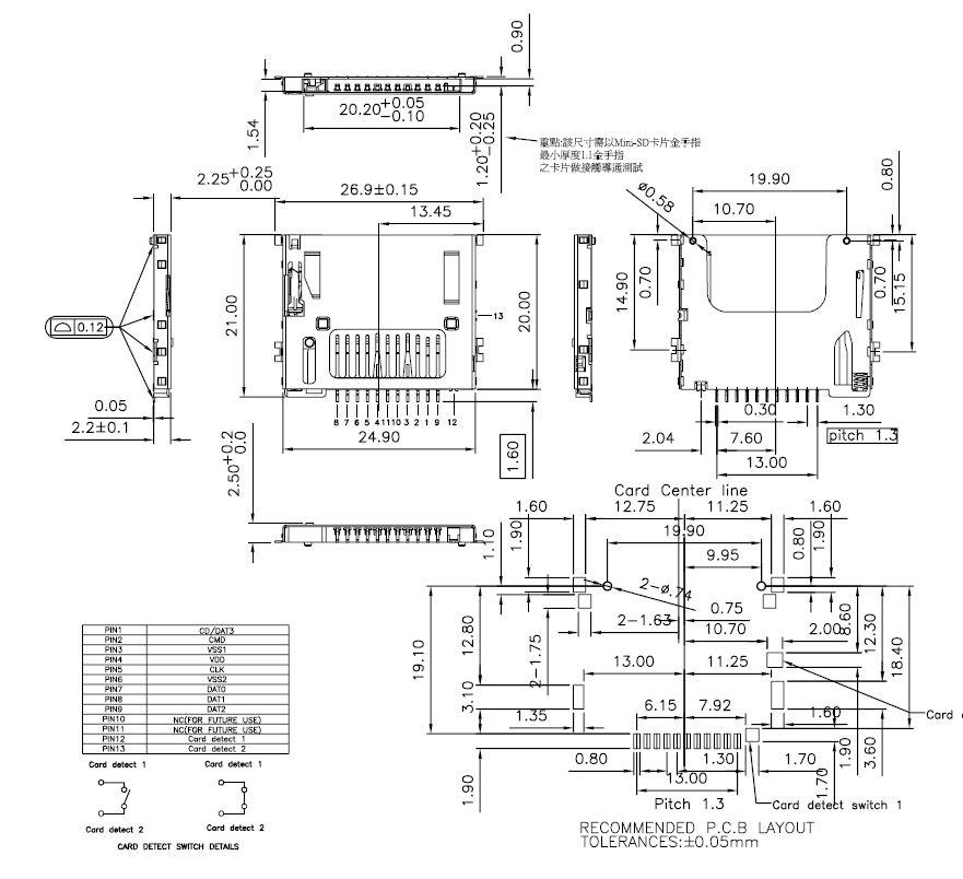 Mini Secure Digital kártya PCB foglalat kioldóval CARD-SD-MIN001
