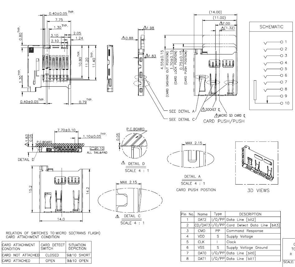 Mikro Secure Digital kártya PCB foglalat kioldóval CARD-SD-MIC001