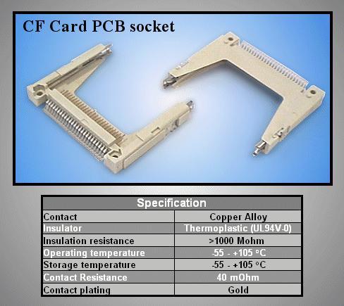 Compact Flash kártya PCB foglalat CARD-CF001