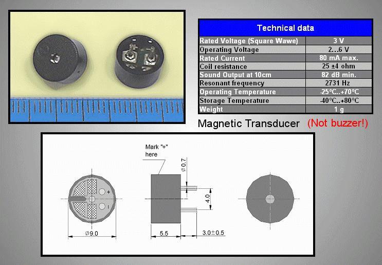 BUZZER-Magnetic 3VAC BMT-0903H5.5 generátor nélkül BZ-4090/055