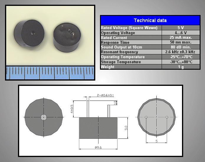 BUZZER-Magnetic 5Vdc BMT0905XH05 generátorral BZ-4096/050