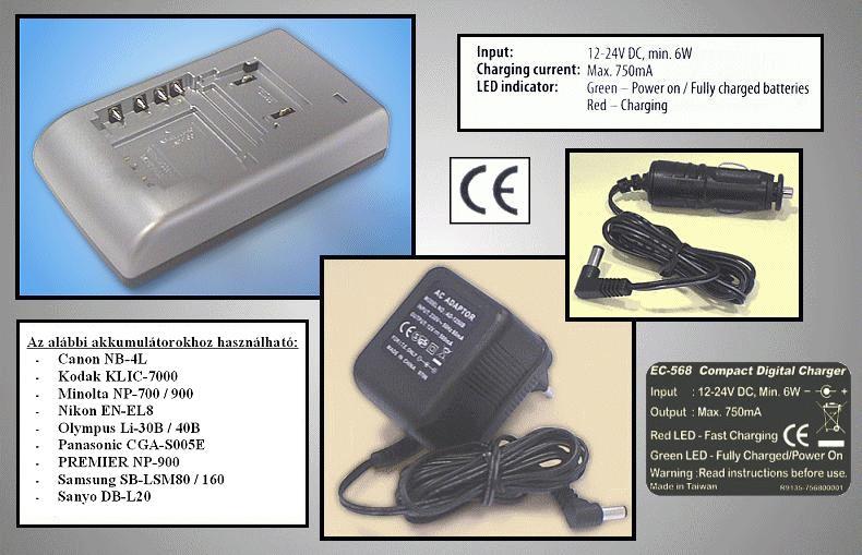 Univerzális Ni-MH kamera akku töltő CAMC.CHARGER/18