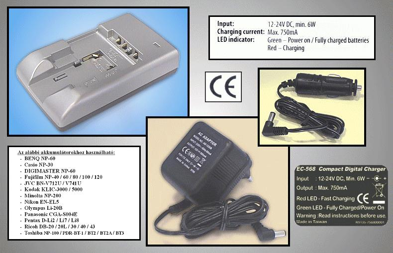 Univerzális Ni-MH kamera akku töltő CAMC.CHARGER/13