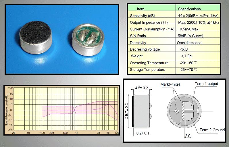 Kond. mikrofon 58dB (PCB) MIKROFON 01/59P
