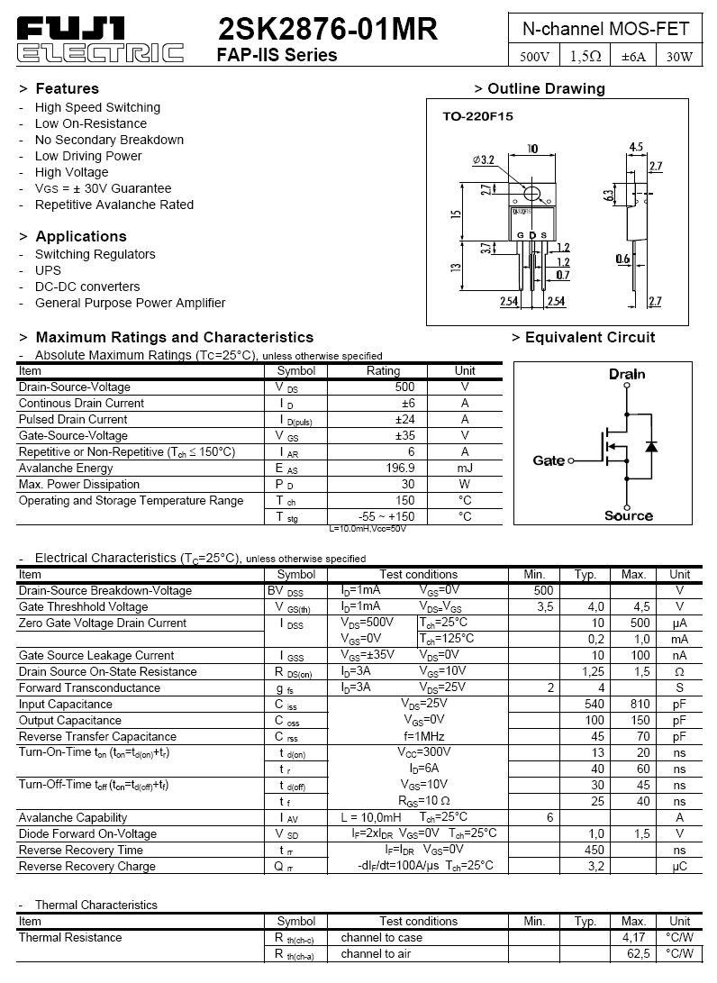 Tranzisztor N-MOSFET 500V 6A 30W <1.5R(5A) 2SK2876-01MR 2SK2876-01MR -