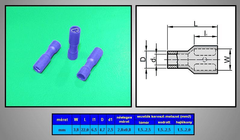 Kábelsaru 2.8/0.8 hüvely 1.5-2.5mm2 kék, szigetelt CS-K1280810/SZB