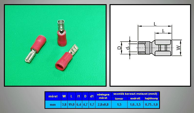 Kábelsaru 2.8/0.8 hüvely 0.5-1.0mm2 piros CS-K1280810/FSZR