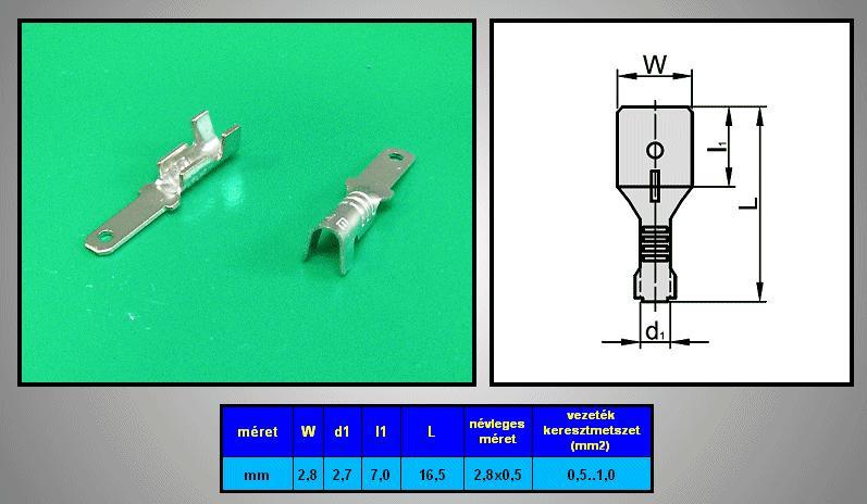Kábelsaru 2.8/0.5 dugó 0.5-1.0mm2 CS-K1280511/SN