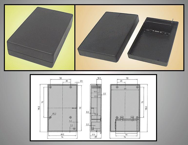 BOX 117x73x28mm zárt, elemtartó hellyel BOX KM33B
