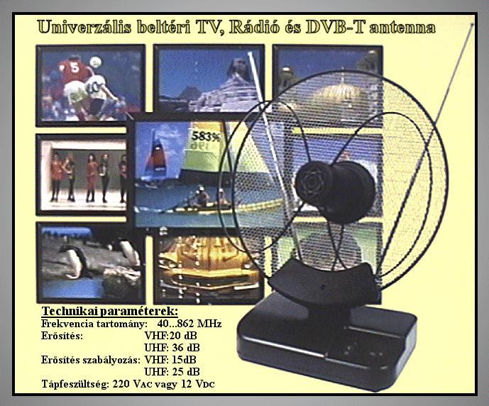 VHF/UHF Szoba antenna erősítővel. ANT 100