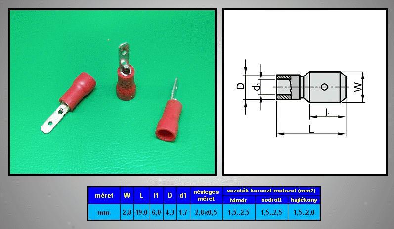 Kábelsaru 2.8/0.5 dugó 0.5-1.0mm2 CS-K1280511/SZ
