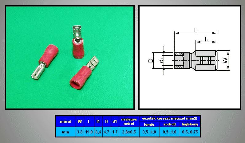 Kábelsaru 2.8/0.5 hüvely 0.5-1.0mm2 piros CS-K1280510/FSZR