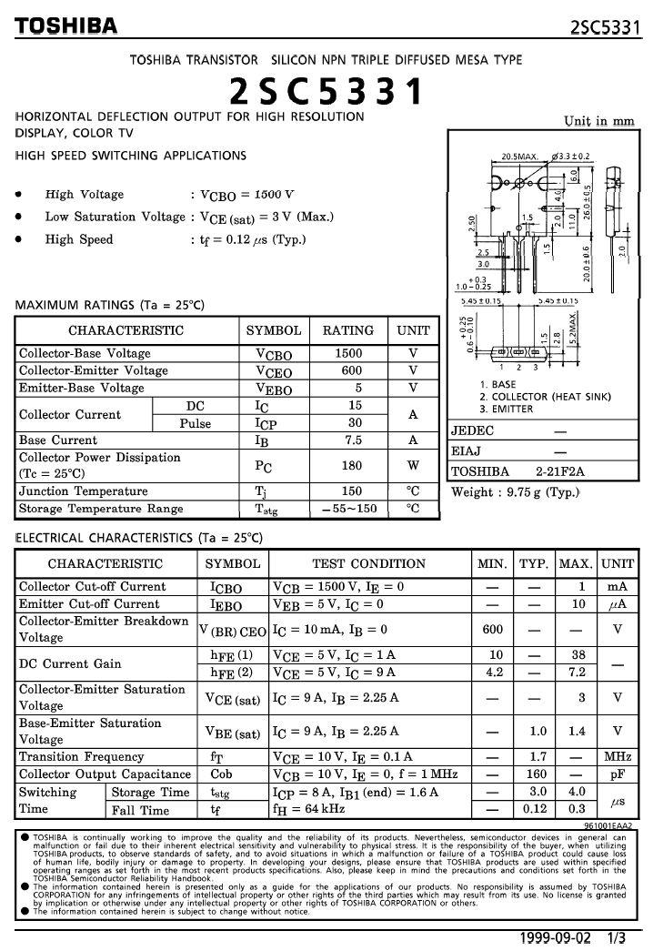 SI-N 1500/600V 15A/30Ap 180W 0.12uS 2SC5331-TOS -