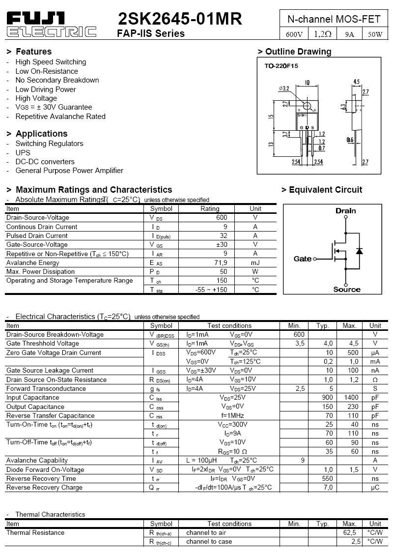Tranzisztor N-MOSFET 600V 9A/32Ap 50W 1.2R 2SK2645 2SK2645 -
