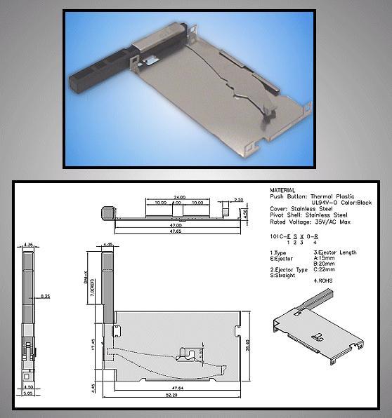 Kidobó a Compact Flash kártya foglalathoz CARD-CF001/K