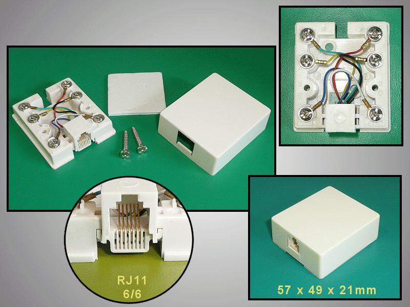 RJ12 fali aljzat 1x6/6 öntapadós CSAT-T016 6/6