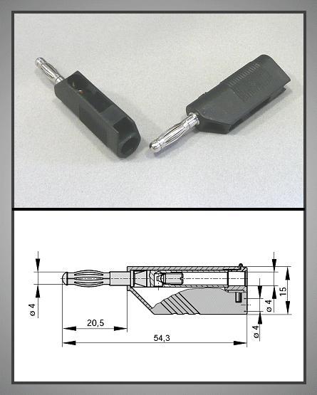 4mm BANÁN dugó fekete vez.+ aljzat CSAT-B0061/SB