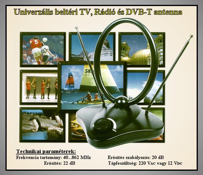 VHF/UHF Szoba antenna erősítővel fekete ANT 110