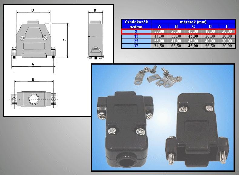 D-SUB 9p. műanyag ház normál csavaros (fekete) CS-DS009H/F