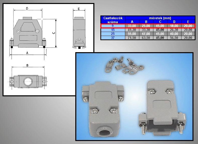 D-SUB 9p. műanyag ház normál csavaros (szürke) CS-DS009H/S
