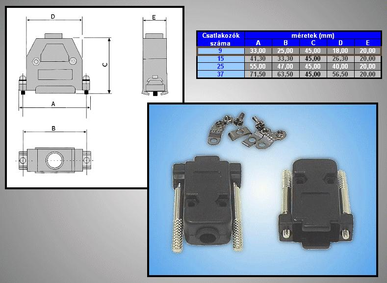 D-SUB 9p. műanyag ház kézi csavarral (fekete) CS-DS009HK/F