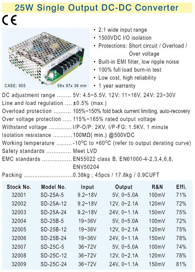 SMPS tápegység 9.2...18VDC 25W +5VDC 5A P.SUP.SD25A05