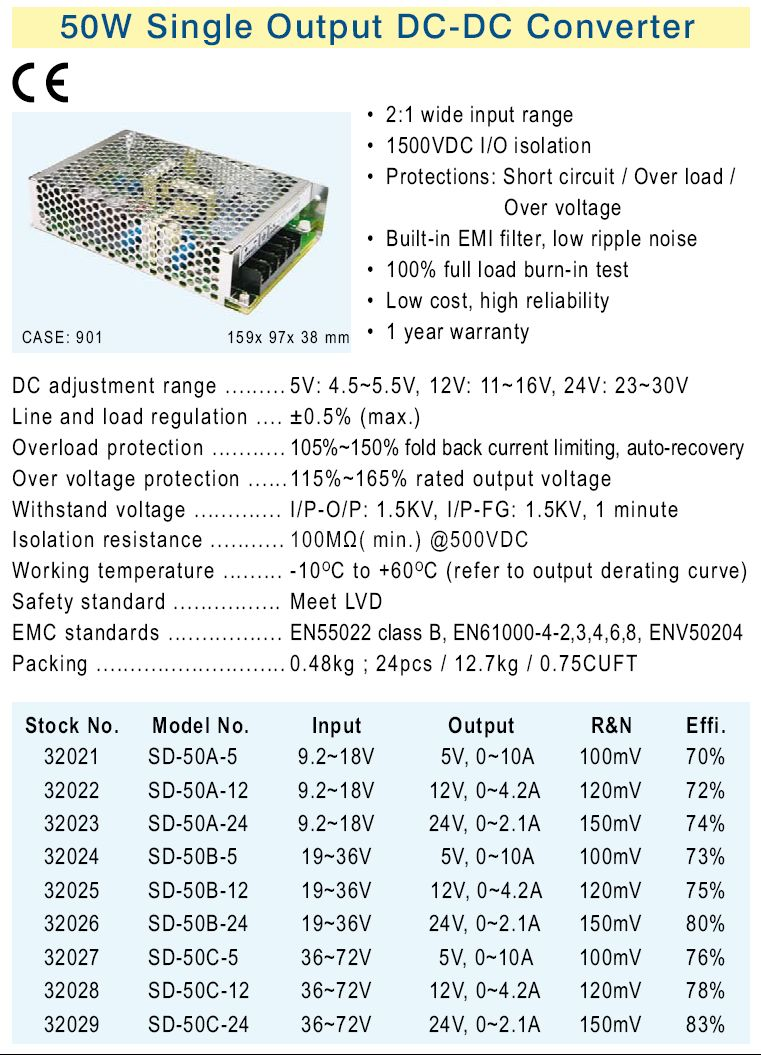SMPS tápegység 9.2...18VDC 50W +12VDC 4.2A P.SUP.SD50A12
