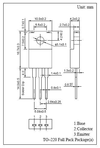 Tranzisztor NPN 150/80V 5A 40W 40MHz 2SD1274 2SD1274 -