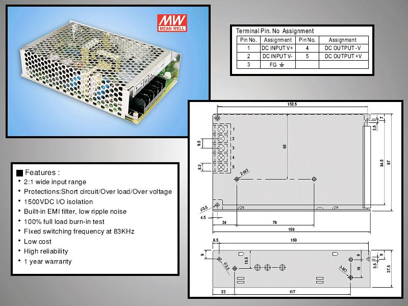 SMPS tápegység 9.2...18V 50W +5VDC 10A P.SUP.SD50A5