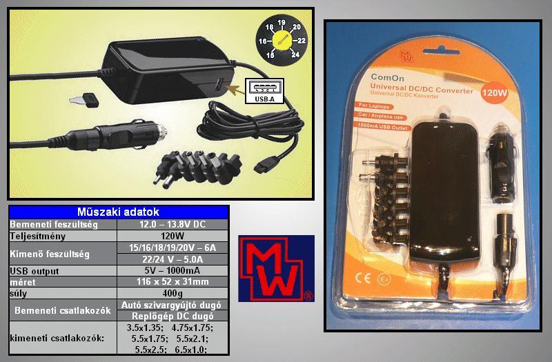 12...13.8VDC -> ki: 15V...20VDC 6A, 22..24VDC 5A 120W P.SUP.5000