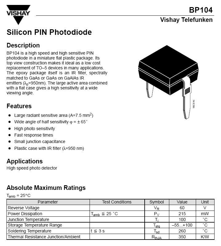 PIN PHOTO dióda 60V 950nm 2p. BP104