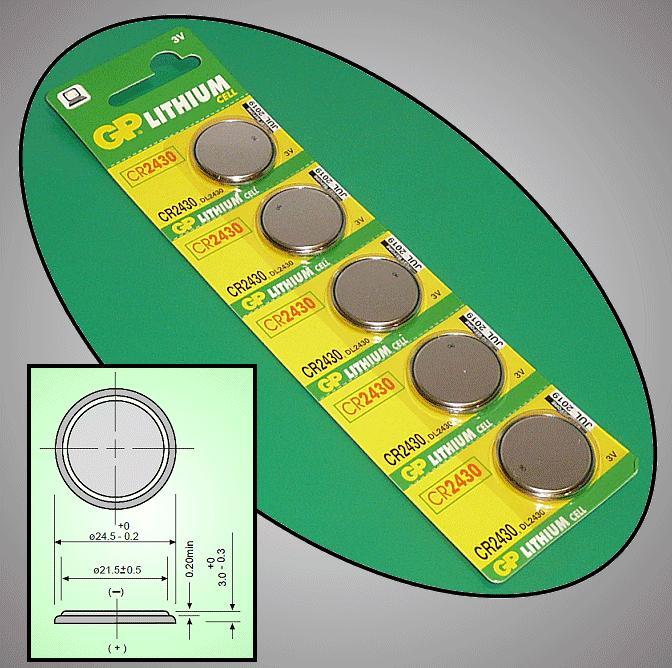 3V 270mAh Lítium elem GP CR2430-C5 BAT CR2430 GP