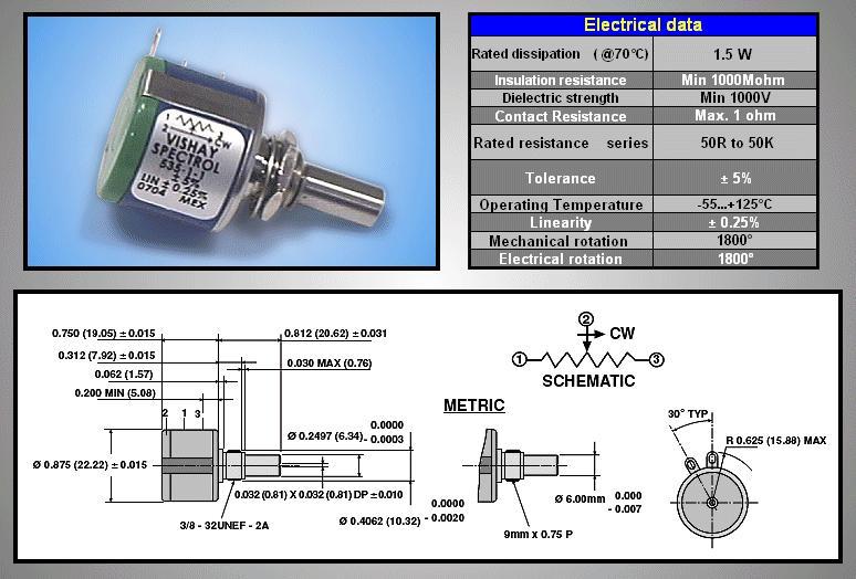 HELICAL Potméter 10K 1.5W 5TRN POT.H 10K/05R