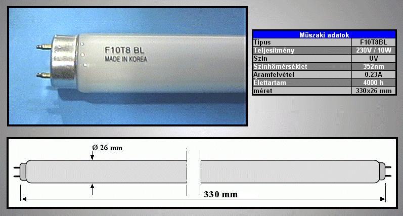 UV fénycső 10W 328mm F10T8-BL LAMP 0063/UV330