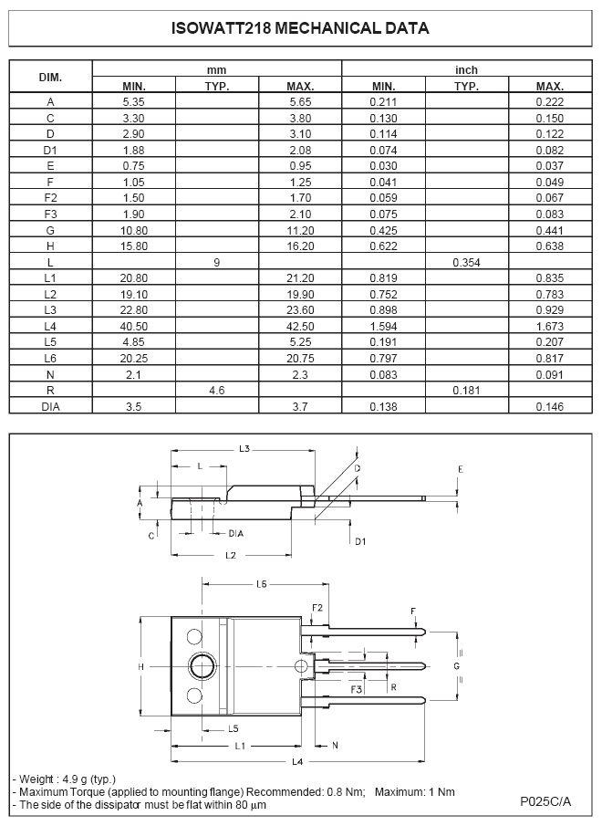 Tranzisztor NPN+DR 1500/700V 7A/12Ap. 50W 0.048uS hFE:10 THD218DHI THD218DHI