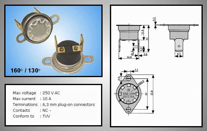 OPEN 160°C / CLOSE 130°C Vert. BT L-160V