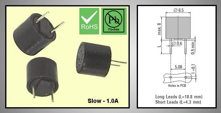 Olvadó biztosíték lassú TR5 1A RFT 1.0A