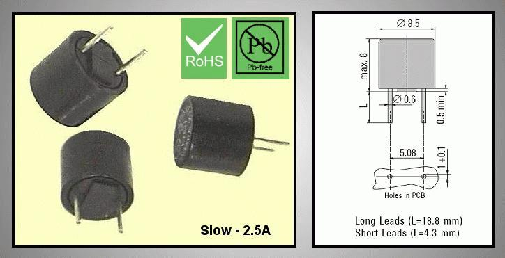 Olvadó biztosíték lassú TR5 2,5A RFT 2.5A