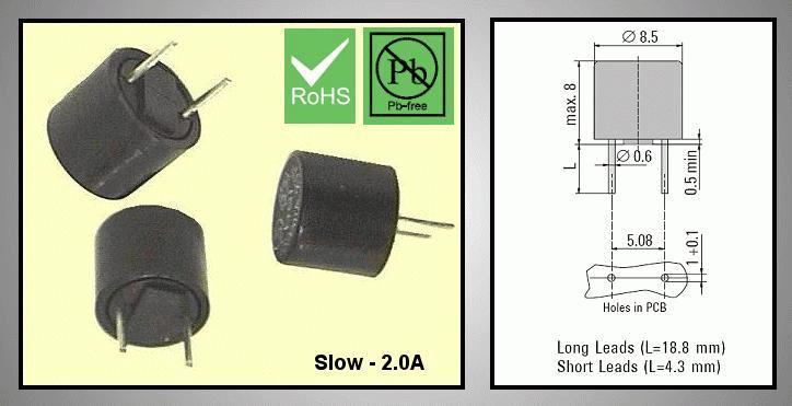 Olvadó biztosíték lassú TR5 2A RFT 2.0A