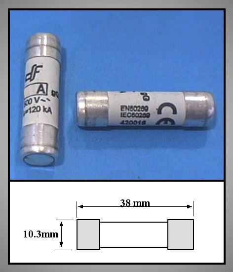 Biztosíték 10A 10,3x38mm porc, gyors 500V FUSE10.000A38S