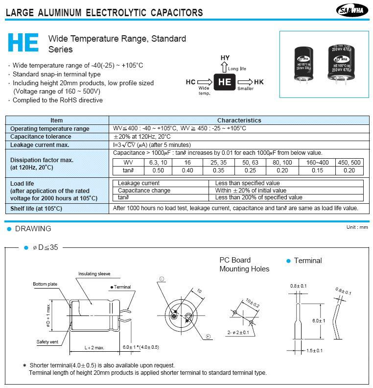 ELKO 150uF 450V 105°C 25x30 2p. Snap-In 150/450P-105 25X30