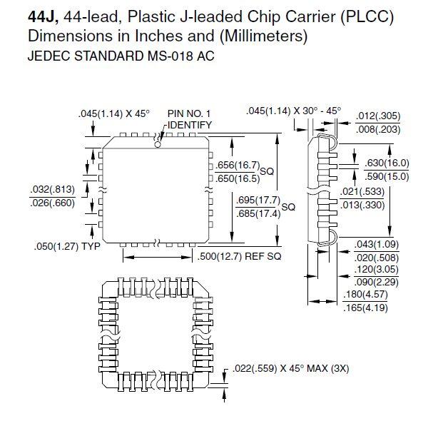 8-Bit 4K 20MHz MICROCONTR. 44p SMD 89C51-20JC
