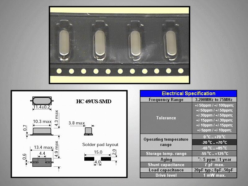 QUARTZ 16.000.000MHz HC-49/US 16.0 HC49/SMD -